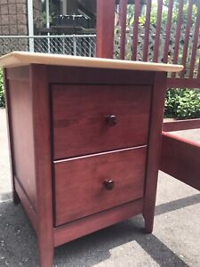 Double bed with night stand with drawers