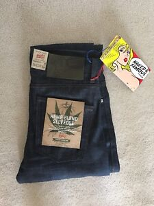 Naked and Famous raw denim hemp blend jeans