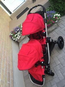 EUC double red city select stroller