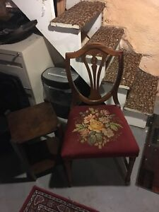 Antique chair with needle point and side table