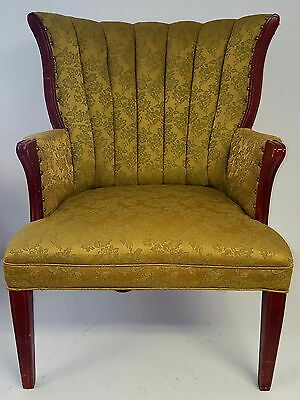 ANTIQUE VICTORIAN WINGBACK ARM CHAIR Green & Gold Circa 1930's