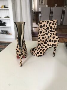 Louboutin leopard print booties