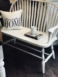 Shabby Chic Cottage Farmhouse Oak Hall Entryway Deacons Bench