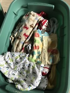 Bin of boys clothes 3 to 12m