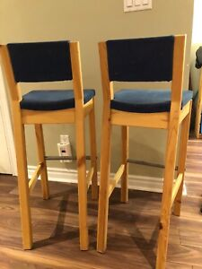 Set of 2pcs IKEA Wool Bar Stools With Blue Cover,