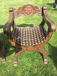 Tudor style antique x style solid wood carved chairs from Reign