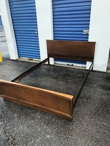 BROWN WOOD BED SET (DOUBLE) - GOOD COND - DELIVERY AVAILABLE