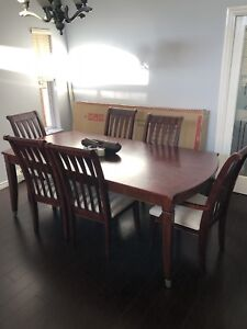 Dinner table 6 chairs and 3 piece sofa set with coffee table