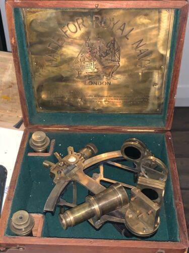 VINTAGE ROYAL NAVY NAUTICAL SEXTANT (BY HENRY HUGHES SON LTD. LONDON)