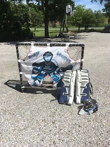 Ball hockey net and accessories.