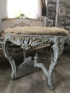 French Style Vintage Footstool Ottoman Coffee Table