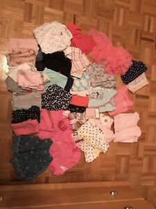 Various baby girl clothes NB until 3 months. 30$ for everything