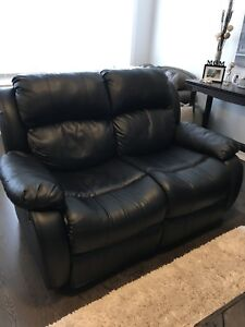 Leather-look fabric reclining love seat - black