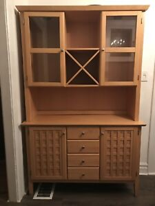 Lighted Glass Door Hutch and Wine Rack