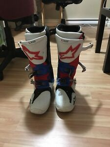 Motocross boots, helmets, neck brace and exhaust