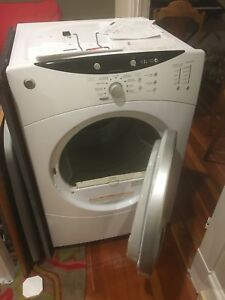 GE front load dryer white