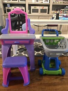 Play vanity with matching stool and shopping cart