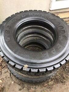 3 Commercial big rig tires , on/off road . All 11R22.5 LR-G