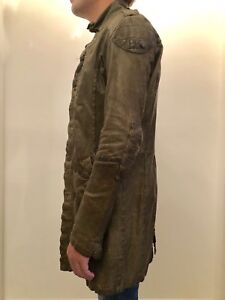 Diesel unisex distressed army green genuine leather trench coat