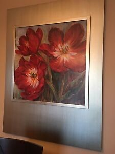 Beautiful painting with red poppies in a silver frame