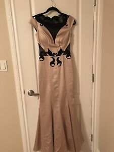 Beige satin grad evening or mother of the bride dress