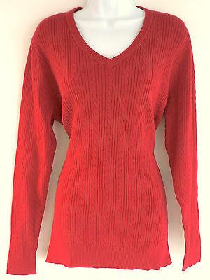 Basic Editions Rotes Langarm V- Ausschnitt Kabel Gestrickt Damen Pullover - Lange Kabel Pullover
