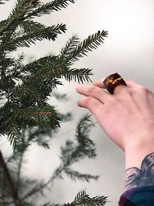 Jewelry made of epoxy resin forest ring super gift for girl