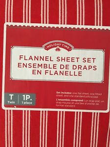Holiday twin flannel sheet set
