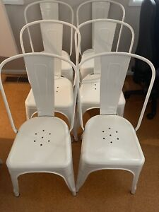 6 White Metal Dining Chairs Tolix Replica Excellent condition