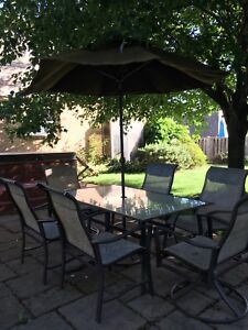Patio Dining Set with Umbrella