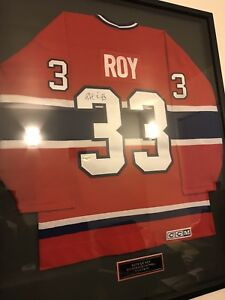 Framed autographed Patrick Roy 1993 Stanley cup jersey