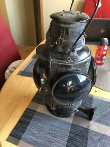 VERY RARE ANTIQUE TRAIN CONDUCTOR LANTERNS. SET OF 2