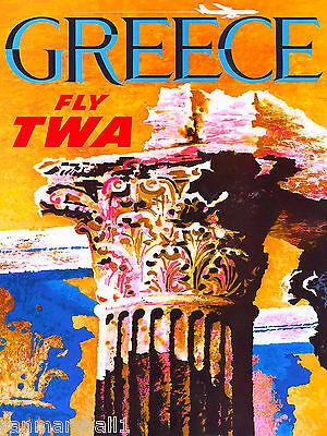 Greece Greek Ruins Europe European Vintage Travel Advertisement Art Poster