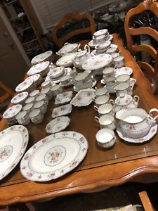 Huge vintage dinner set Petit Point England Bone China