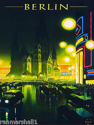 Berlin Germany German Europe European Vintage Travel Advertisement Art Poster