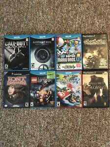 Wii U, PlayStation 2, GameCube games, and controllers for Wii U