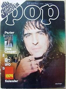 Pop 1974 Nr.1 9.Jahrgang mit Superposter Alice Cooper UFO Popfoto Pop Bravo