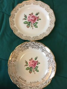 22KT Gold Briar Rose plates and bowls.