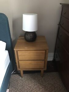 Solid Maple Mid Century Modern Night Stand w/ Brass Tipped Legs