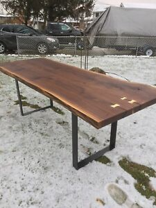 Live edge black walnut dinning table