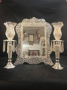 Hand made silver & gold plated filigree Mirrors & Candle Holders
