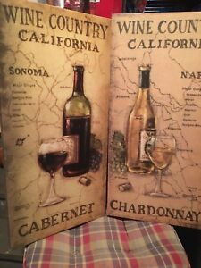 "2 x Canvas Wall Art ""Wine Country"""