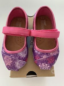 TOMS floral & sparkly Mary-Jane baby shoes, Size 5US
