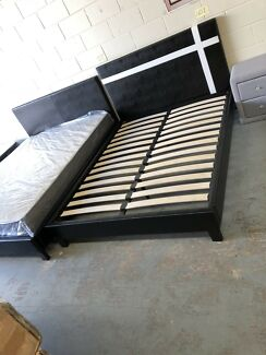 Brand new leather bed with super strong slats flat pack pick up easy