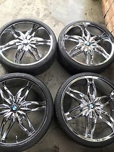 "BMW 24"" Chrome Rims and New Tires"