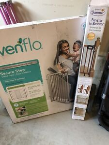 Evenflo metal gate (NEW In box) & 1 universal banister