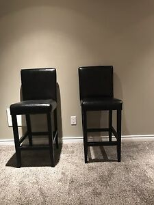 2 Counter Height Black Leather Chairs