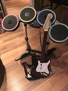 Rock Band guitar and drum set for Wii
