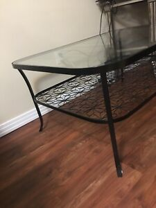 Glasstop Table with flower detail
