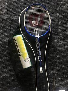 Wilson badminton racket and birdies